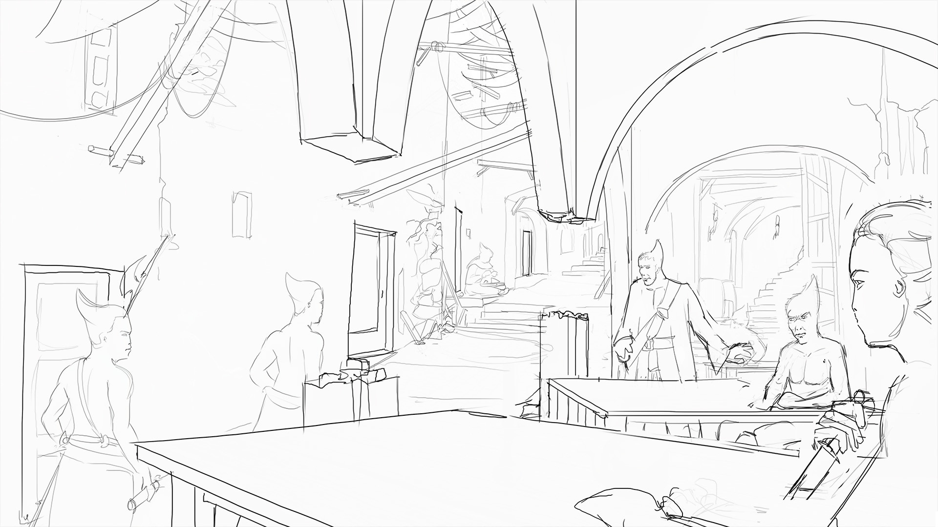 Fleshed out idea. Wanted to show the state of the environment a bit more, and less focus on interior.