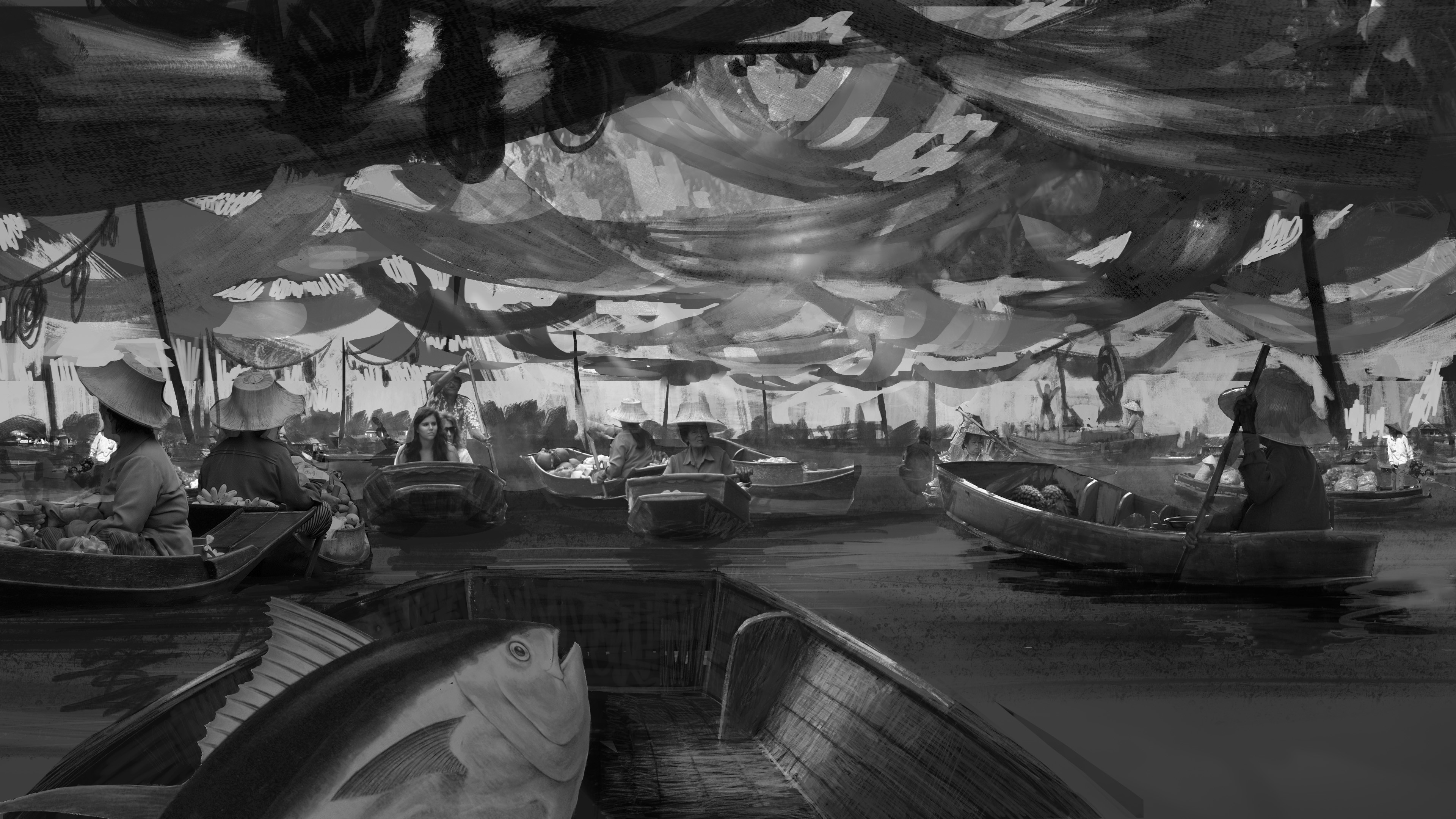 As in the sketch, i started adding some hanging drapery, had a hard time figuring out the shapes.