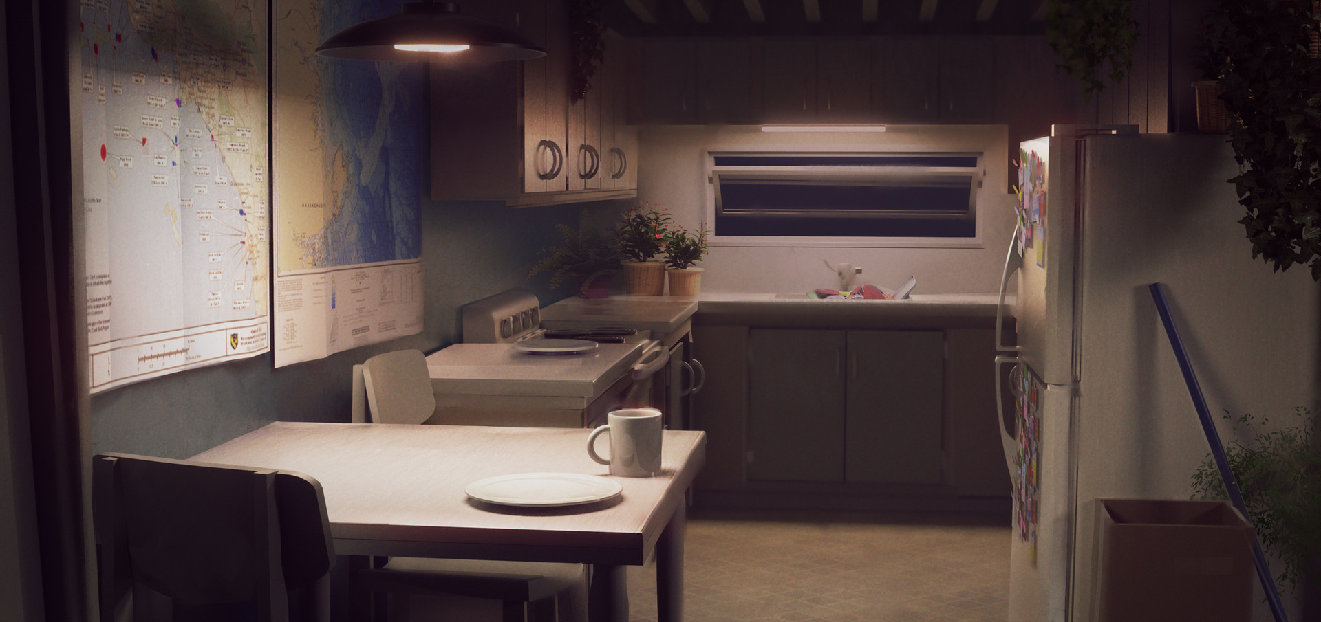 Kitchen at night