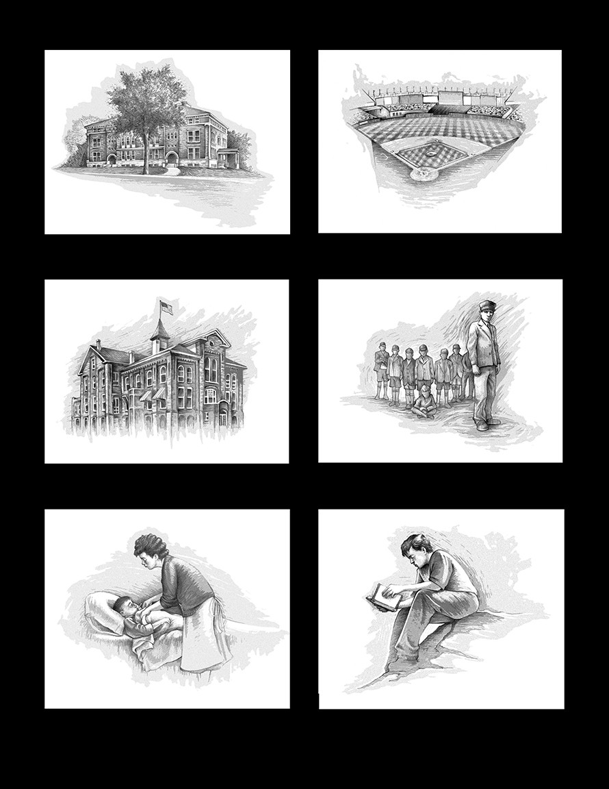 """These were spot illustrations I did for Ralph Nader's only nonpolitical book, """"The Seventeen Traditions."""""""
