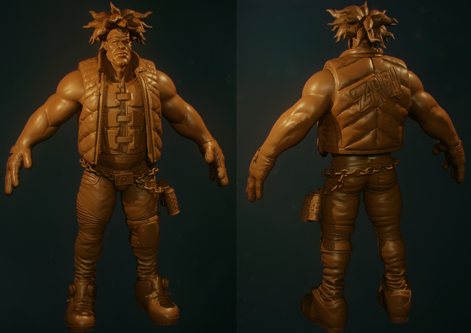 Rendering the sculpt in Marmoset Toolbag 3 - I find this gives me a bette ridea of what the final product will look like.