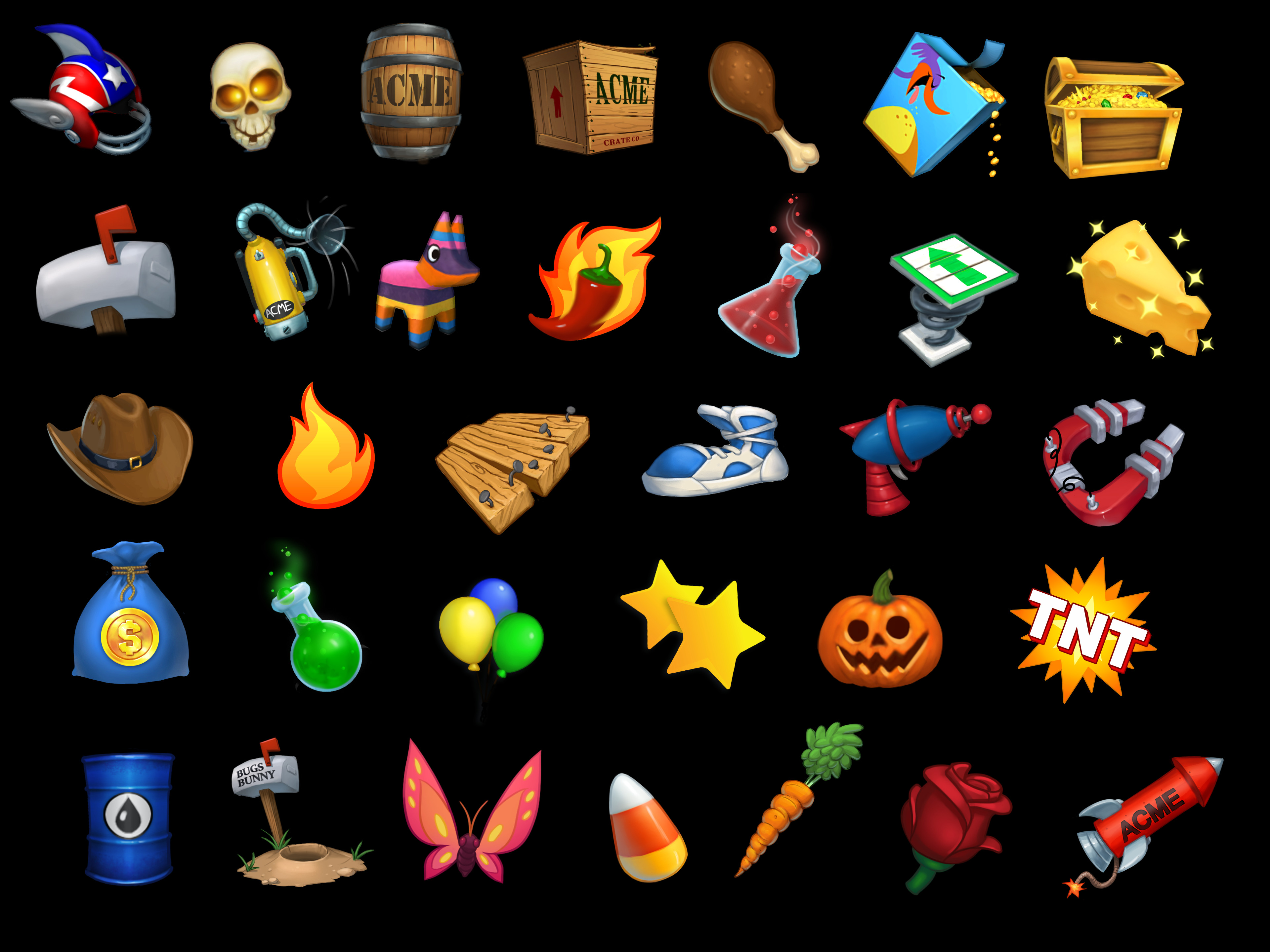 Various Game, HUD, UI Icons for Looney Tunes Dash. These were fun as they were in many cases concepts for props I had done that then got polished into icons.