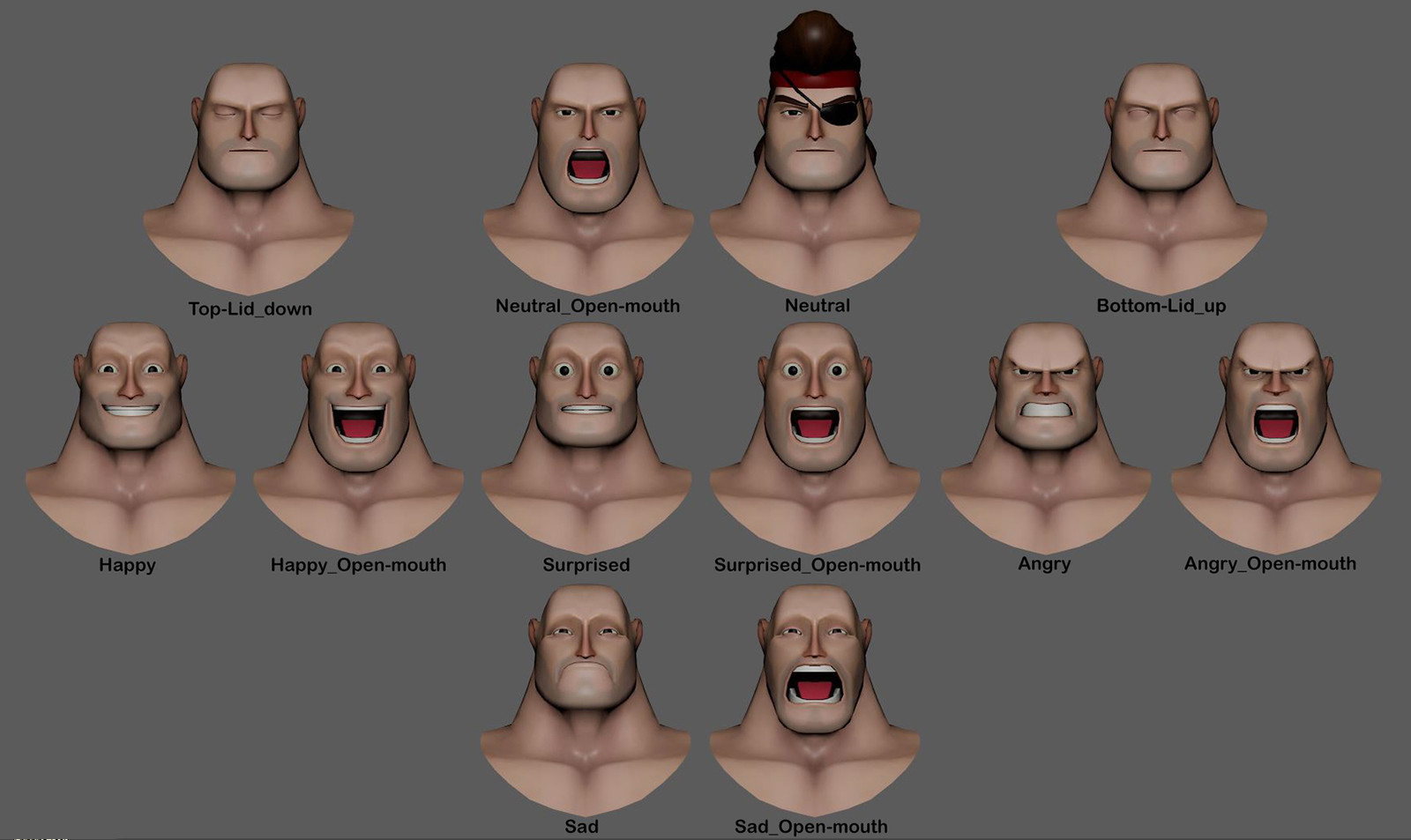 These are the face-shapes I made for the VR Company Mindshow, Inc in 2016.  The heads were already modeled and textured, but I did change some of the topology on a few to have (what I consider) proper topology flow.