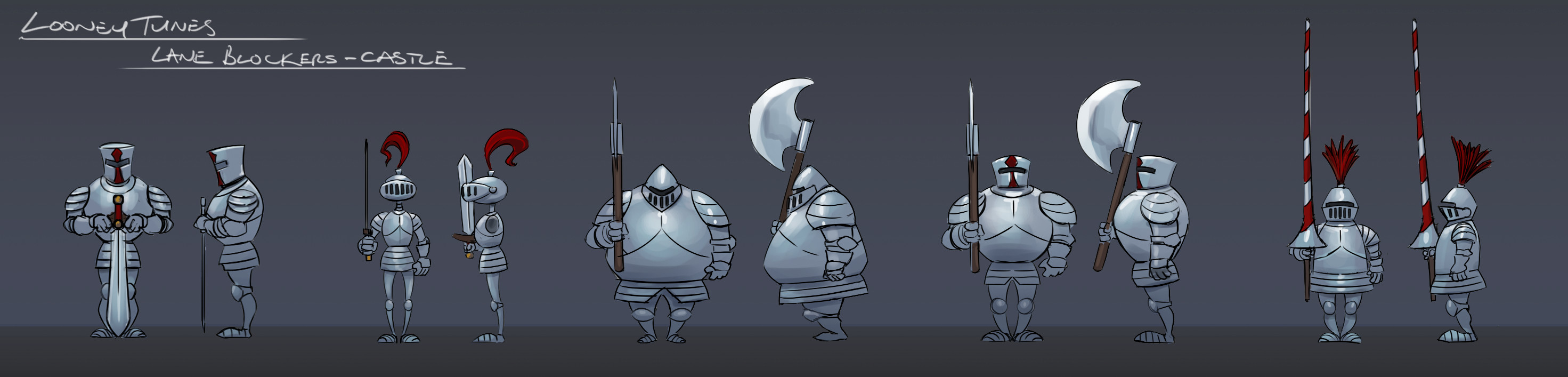 'Looney Tuney' knights for the scary castle level