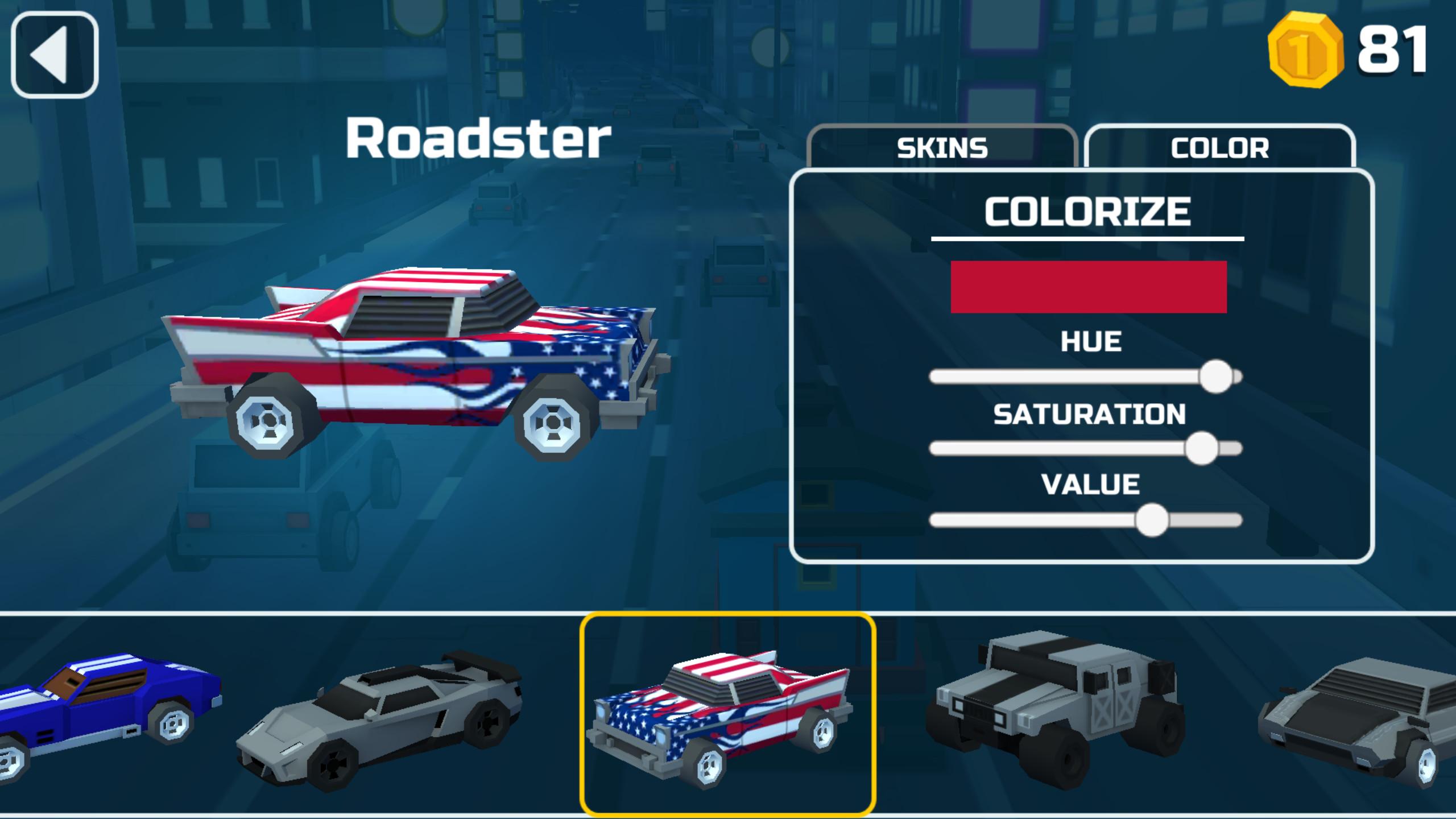 Car Select and customization screen