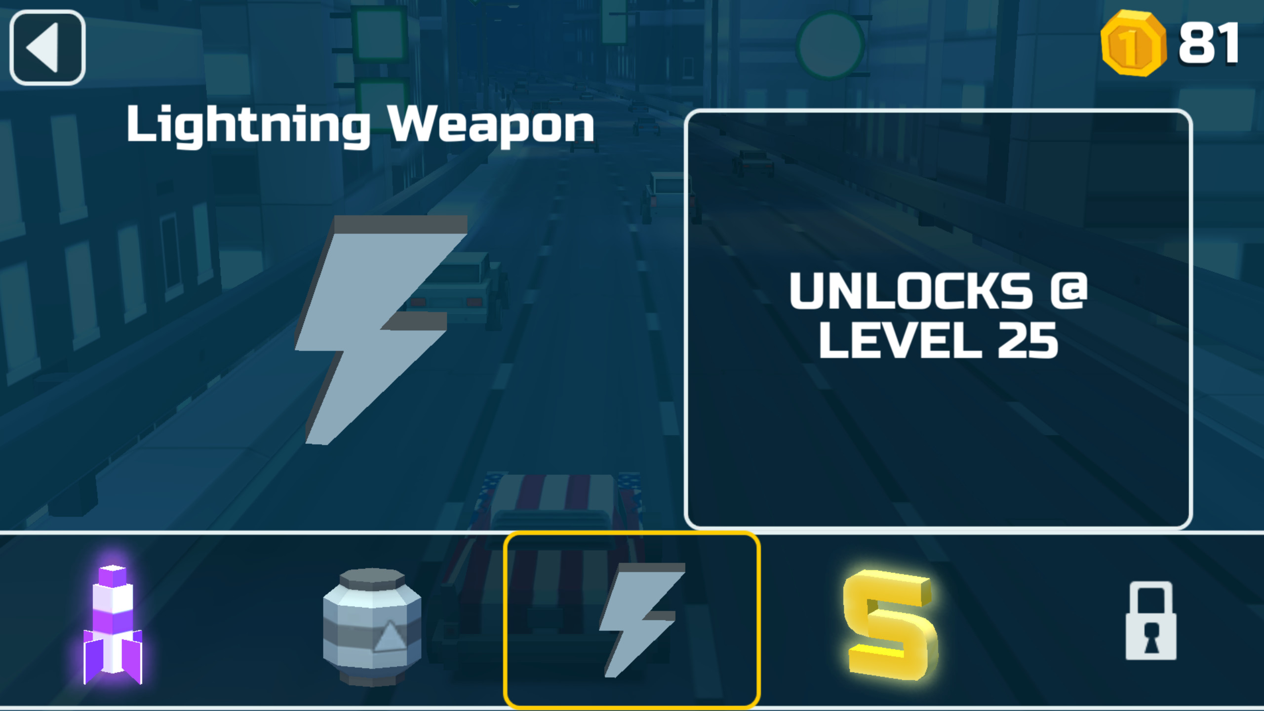 Weapon upgrade screen