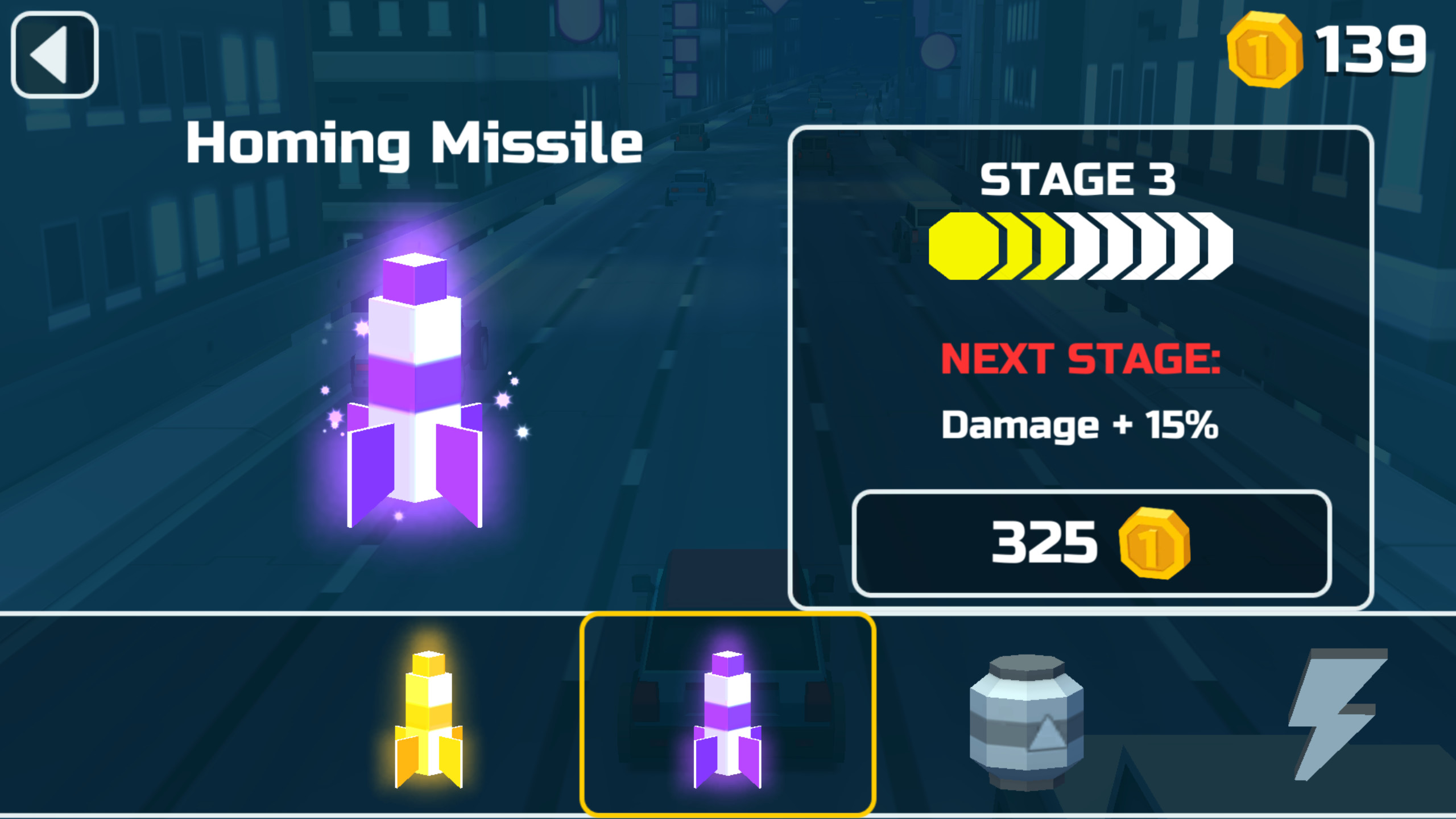 Weapon upgrade/unlock screen