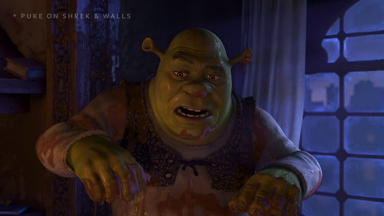 Scared Shrekless - Syrup Puke Variant for Shrek and Puke on Walls