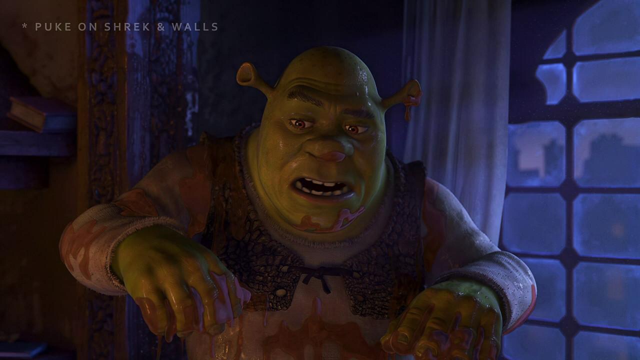 Scared Shrekless - Syrup Puke Variant for Shrek and Puke on Walls