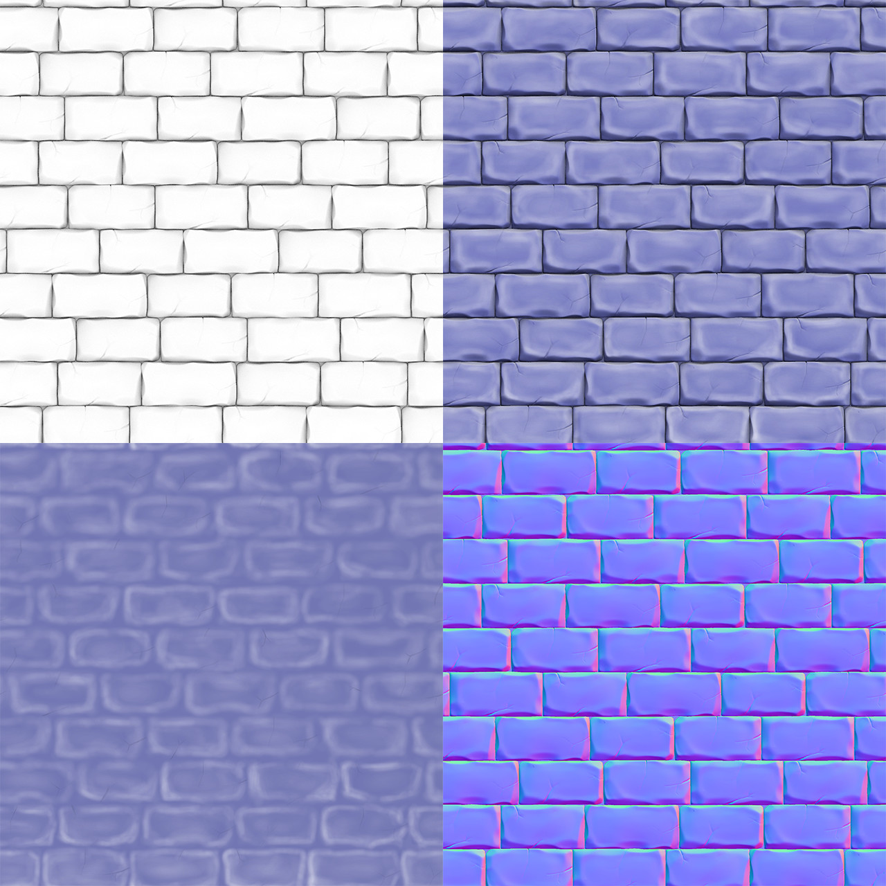 three textures: ambient occlusion, color, normal, and a photoshop mix of all of them