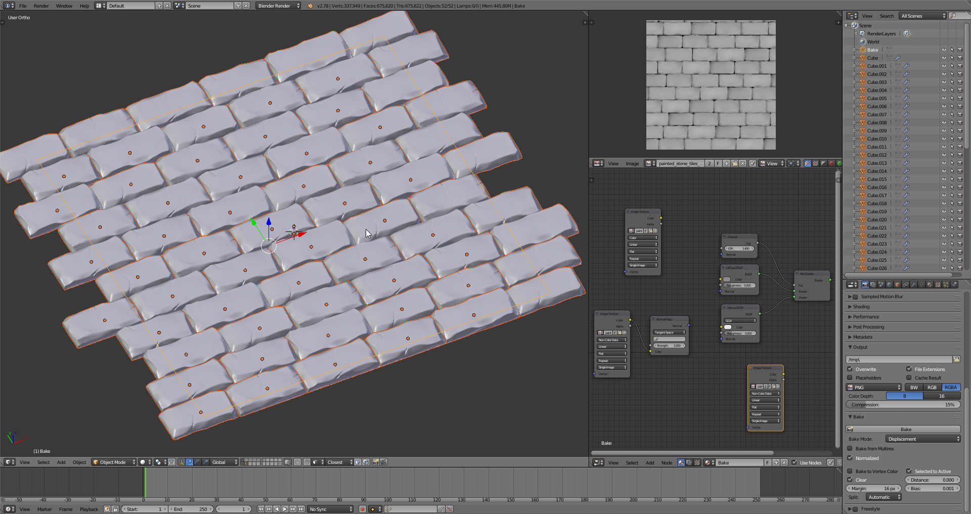 the tiles are baked high-poly 3d models