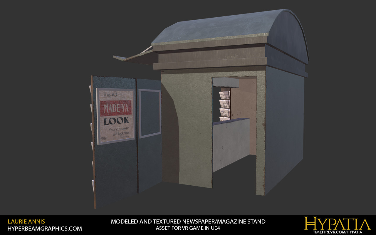 Low poly game asset: Hypatia News Stand