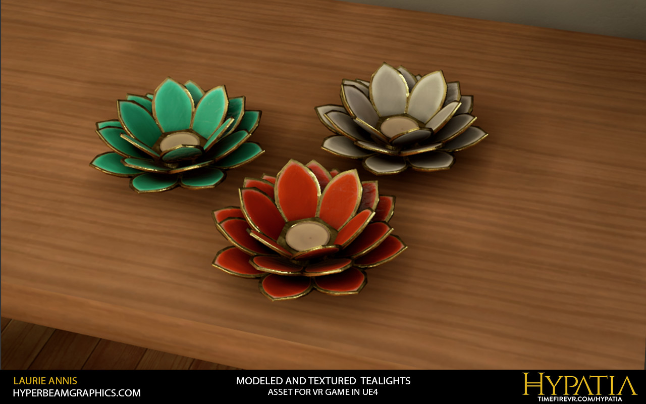 Low poly game asset: Flower Tealight