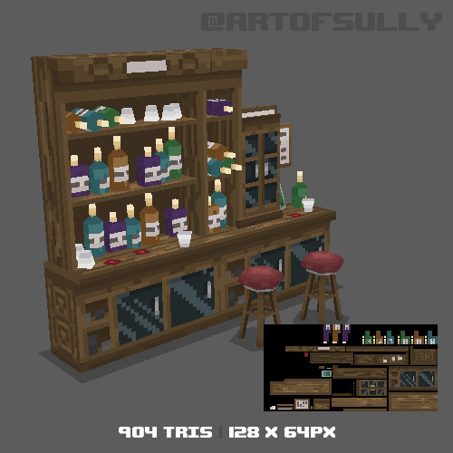3D Pixel-Art Back of Bar (Commission)