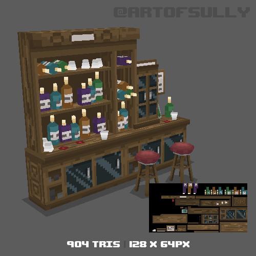 3D Pixel-Art Back of Bar (Commission)
