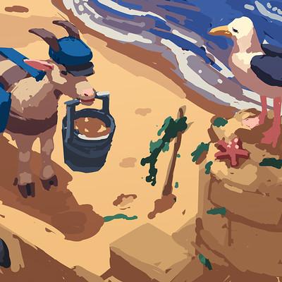 Devin platts seagull sandcastle
