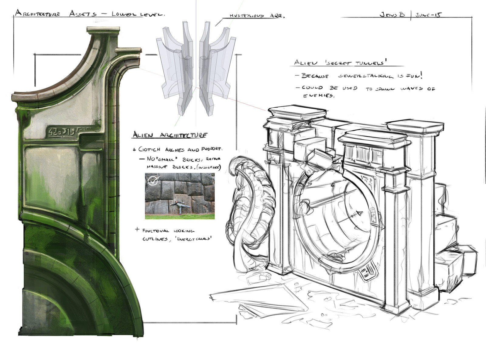 Development sketches - decaying architecture