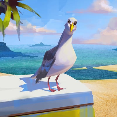 Sean hsiao seagull on the beach color key sean hsiao 2