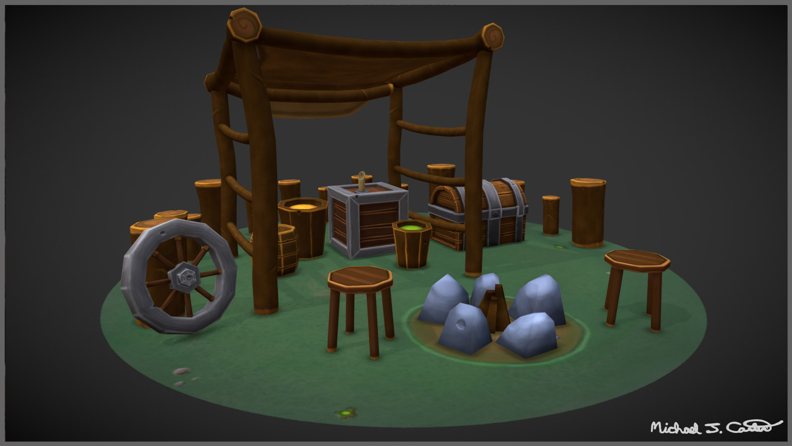 Stylized Campfire Mini Scene