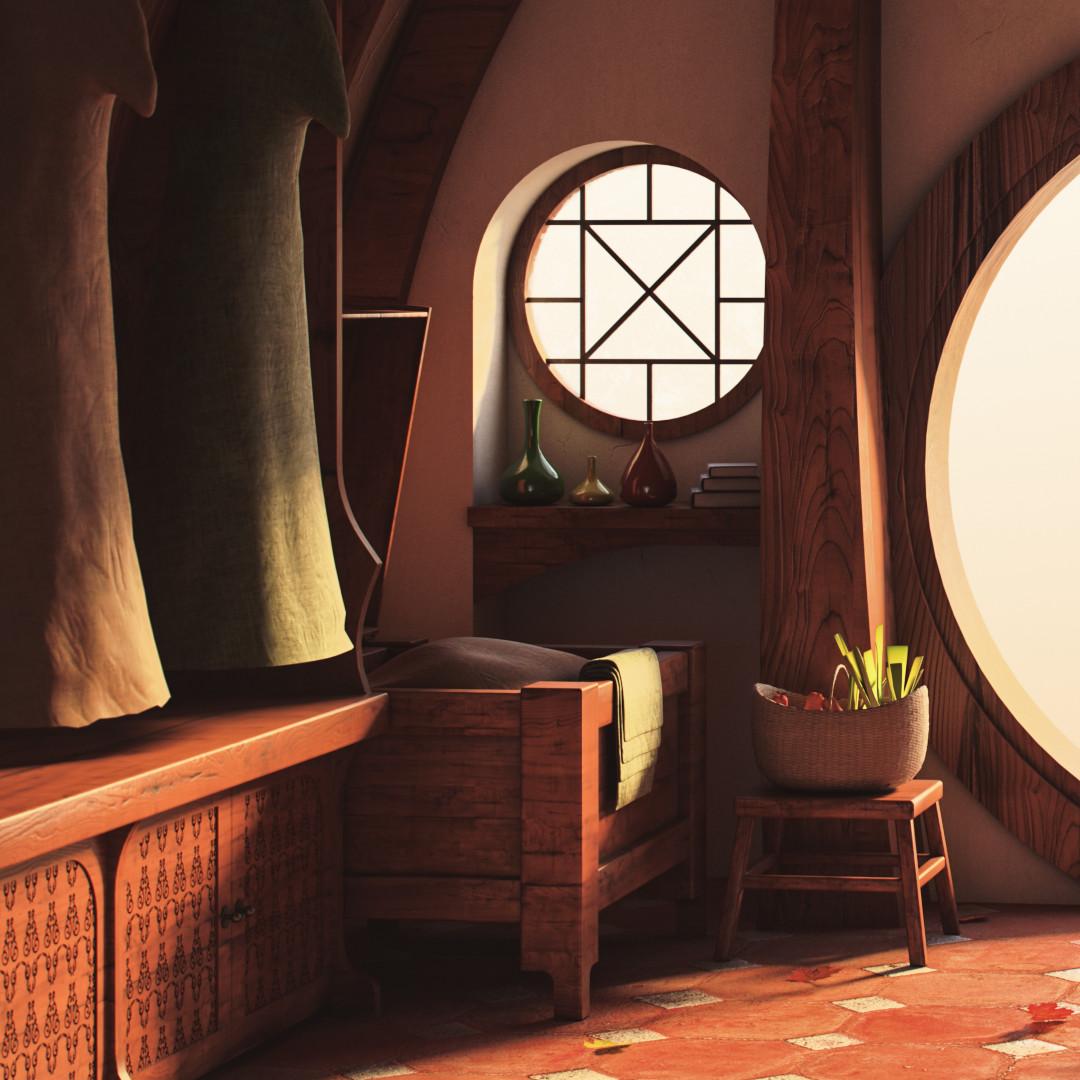artstation hobbit house interior quentin claude. Black Bedroom Furniture Sets. Home Design Ideas