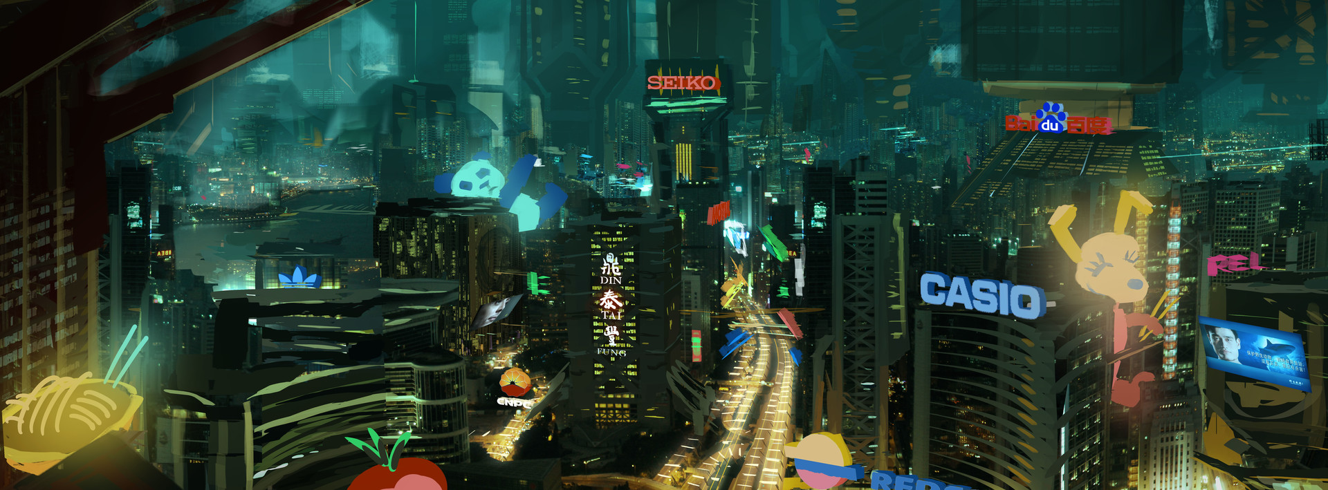 Early Concept Art Of The HK Skyline I Did For Ghost In Shell Movie