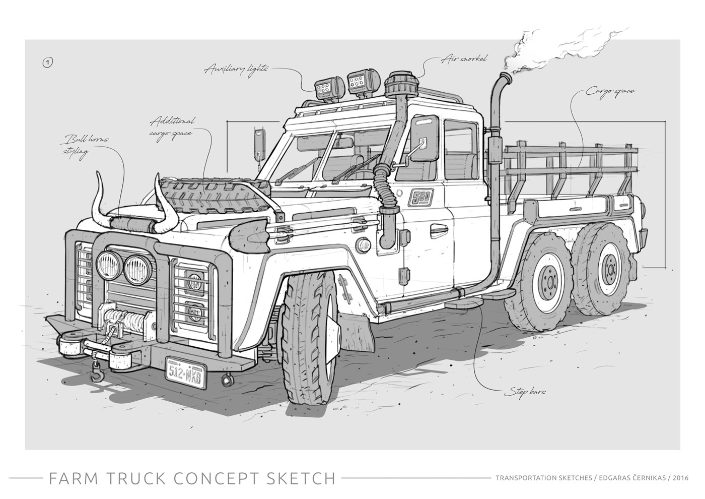 Edgaras cernikas transportation sketches farm truck racer 1400x990