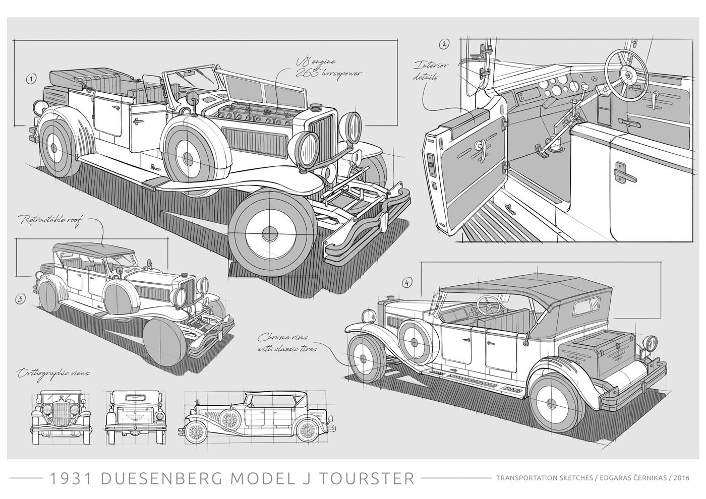 Edgaras cernikas transportation sketches duesenberg j derham tourster 1400x990