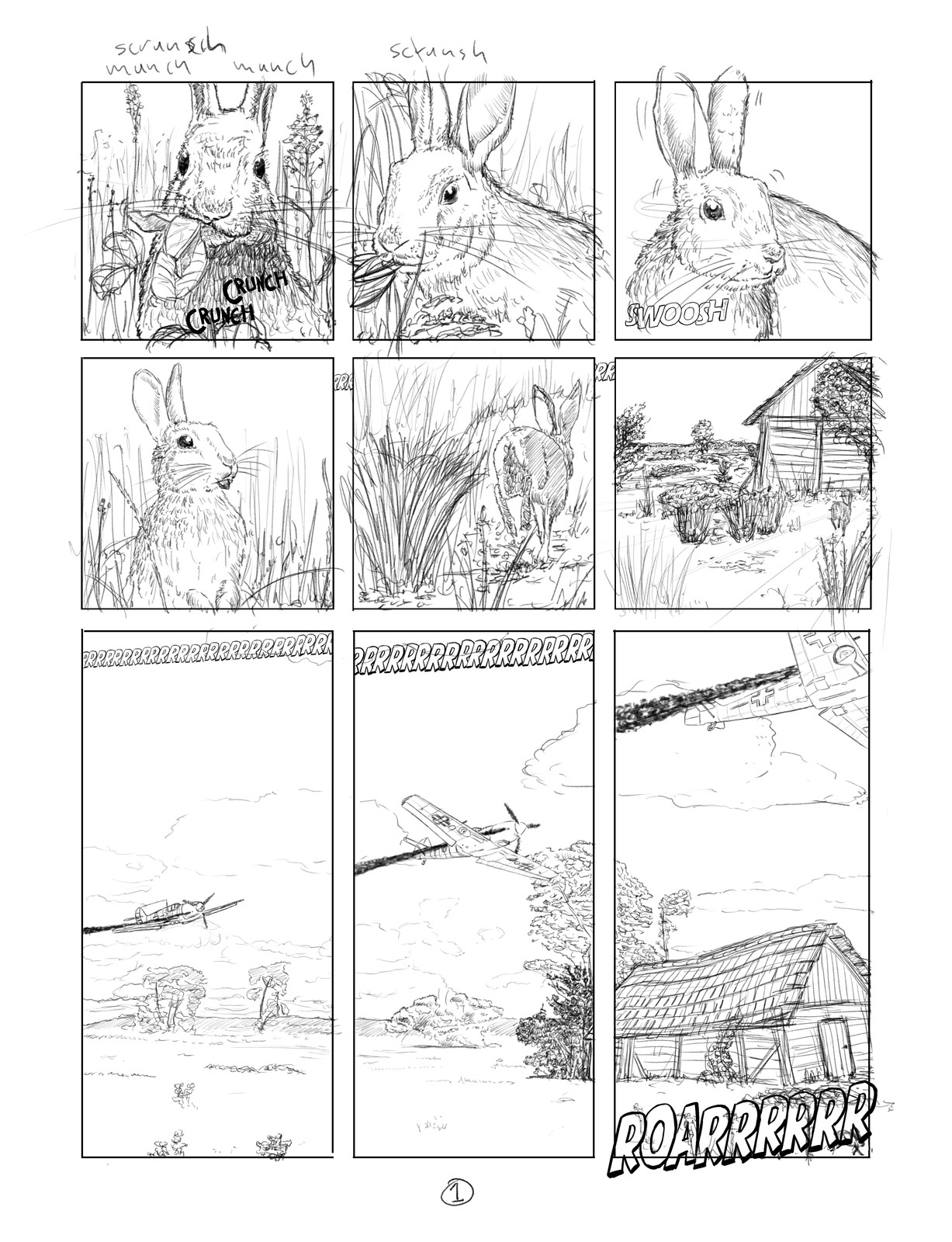Pencils for page one of a twelve page sequence. Bunnyrabbits and a  Messerschmitt B 109. Stay tuned for more.