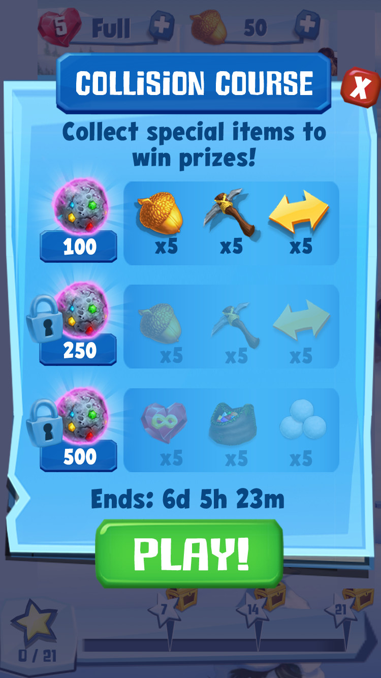 Event goals screen
