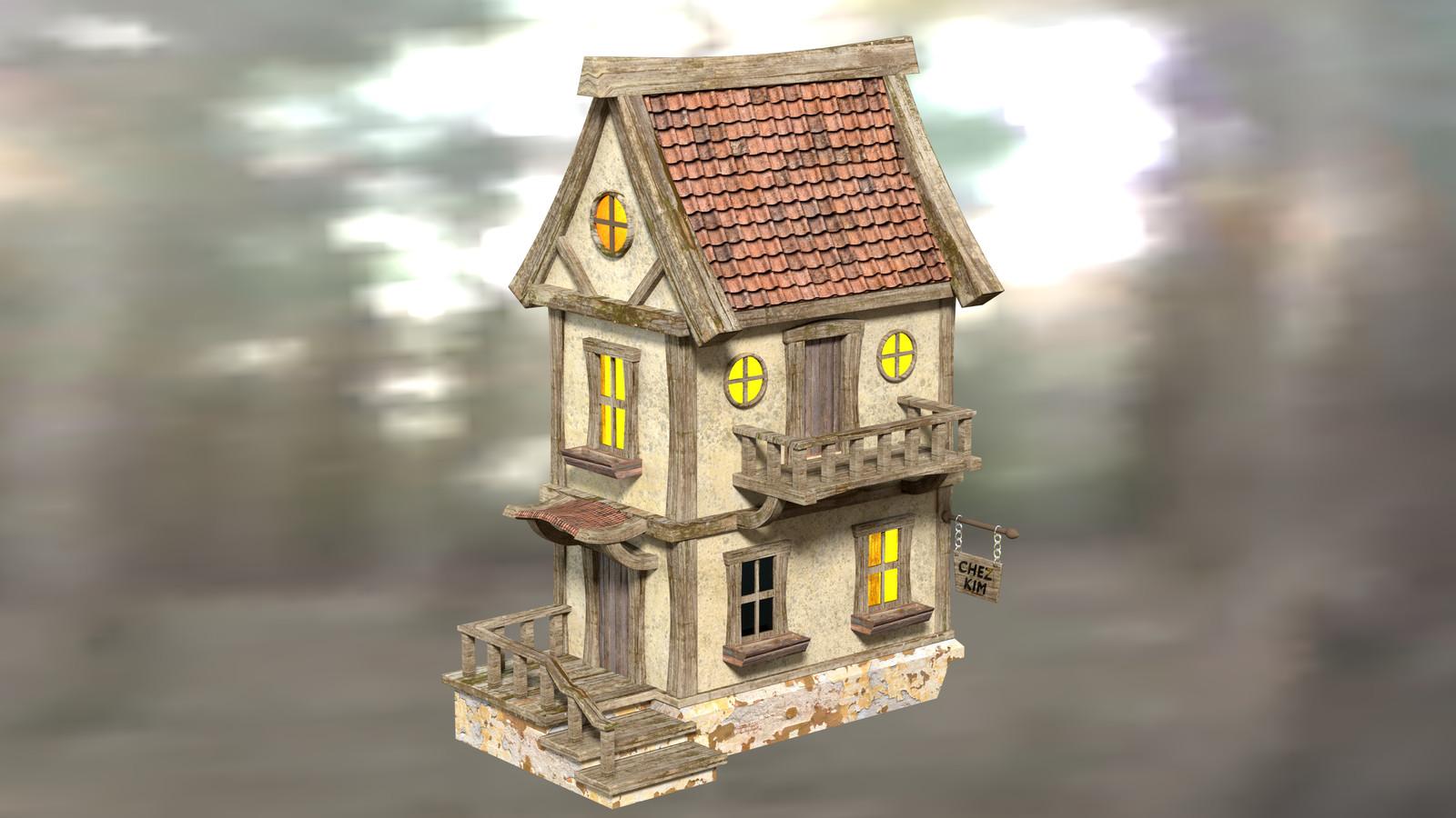 """Chez Kim"" - Fantasy Building - Original"