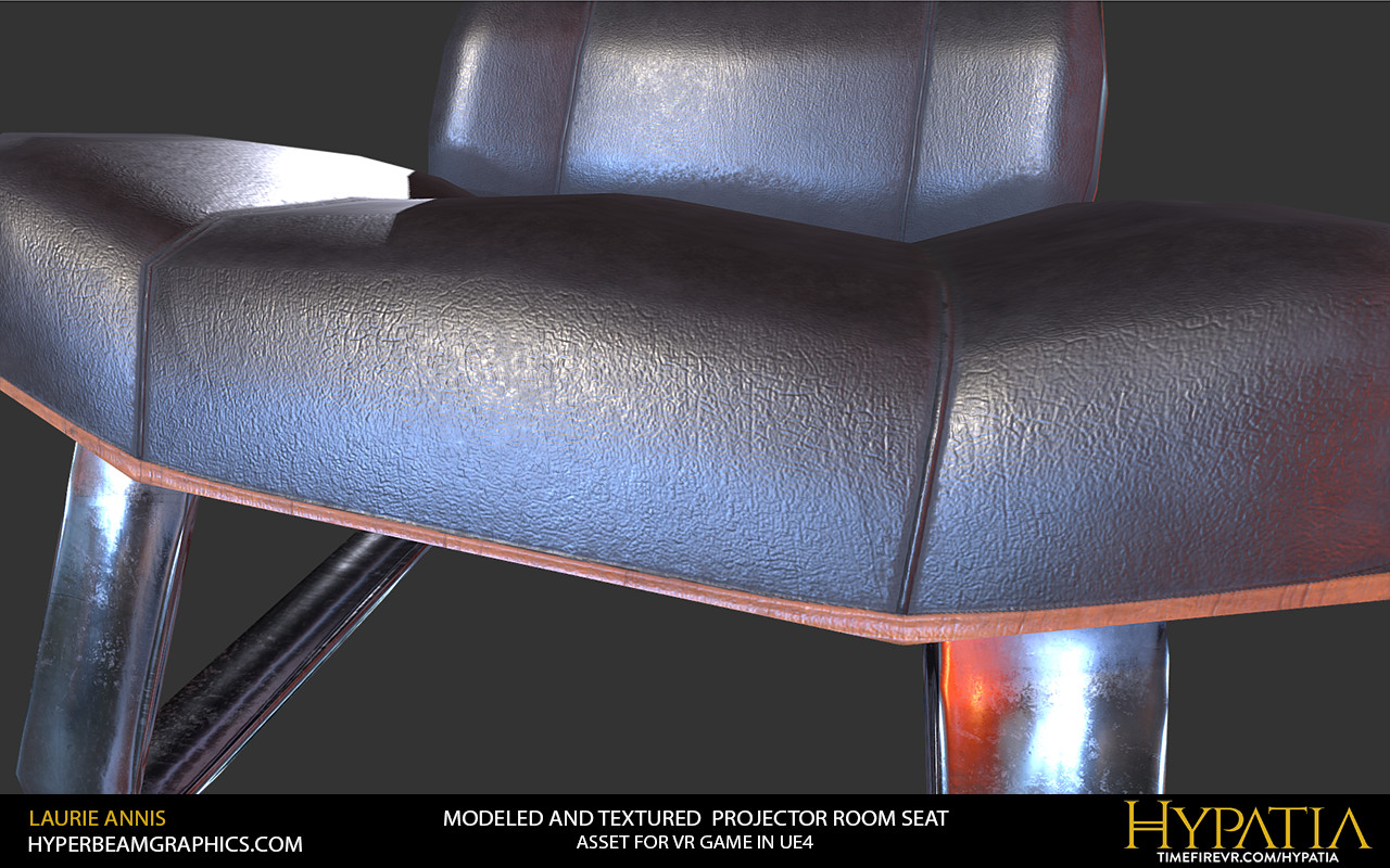 Low poly game asset: Hypatia Projector Room Seat detail