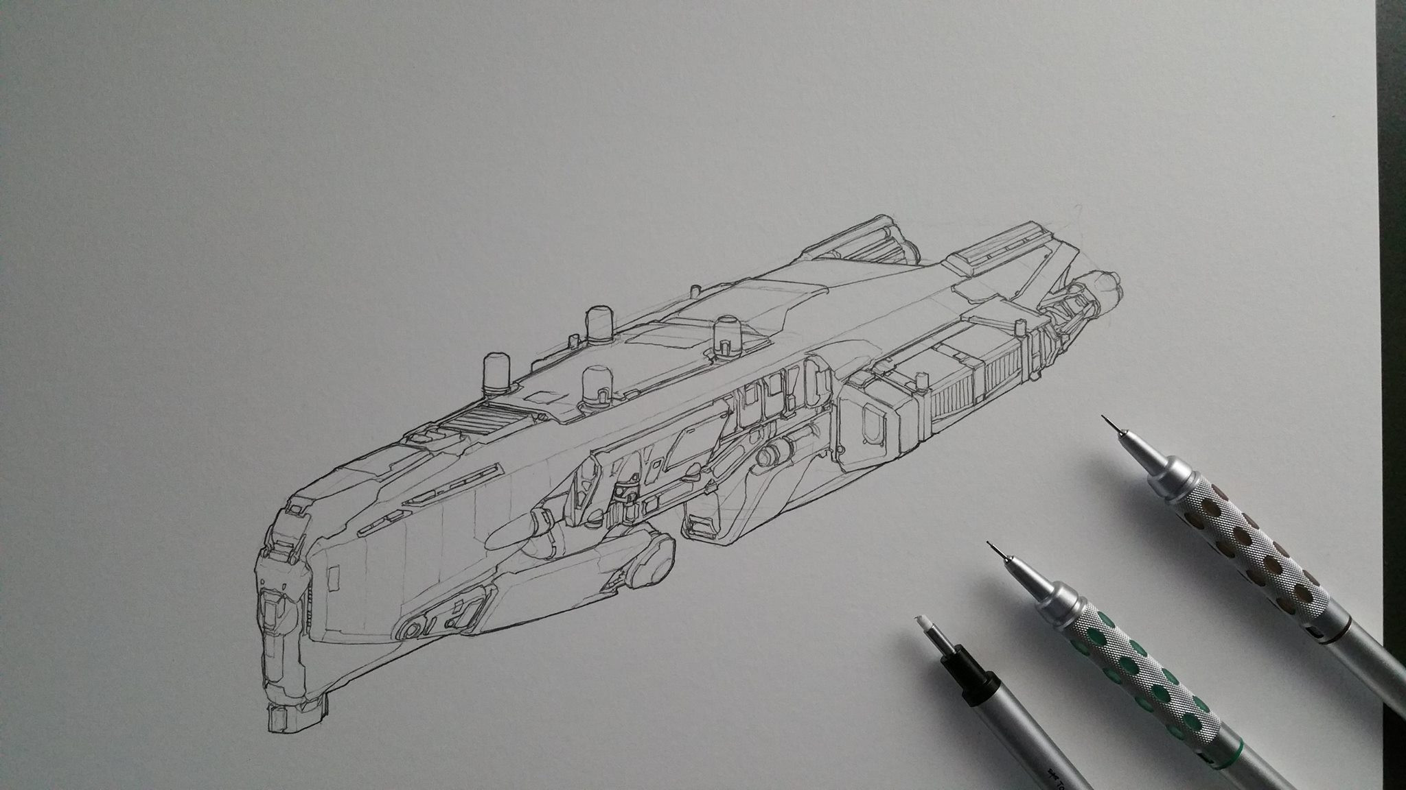 The initial sketch was done in mechanical pencil. A fine Tombow eraser was very helpful.