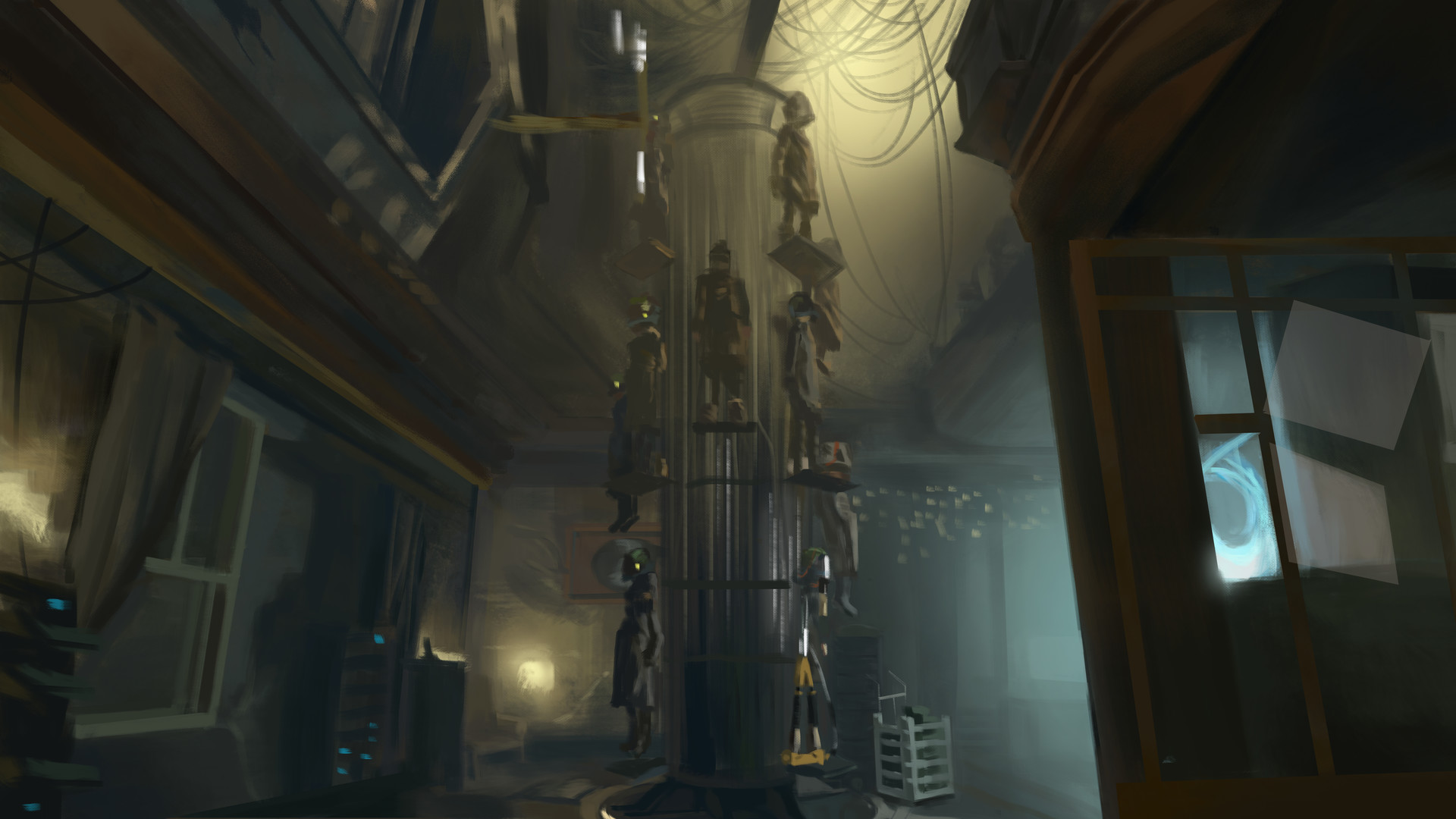 Painted scene from Deus Ex: Mankind Divided