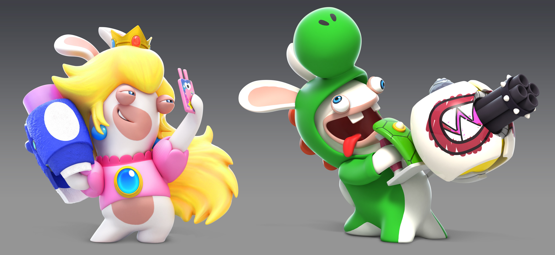 CG renders of Rabbid Peach & Rabbid Yoshi