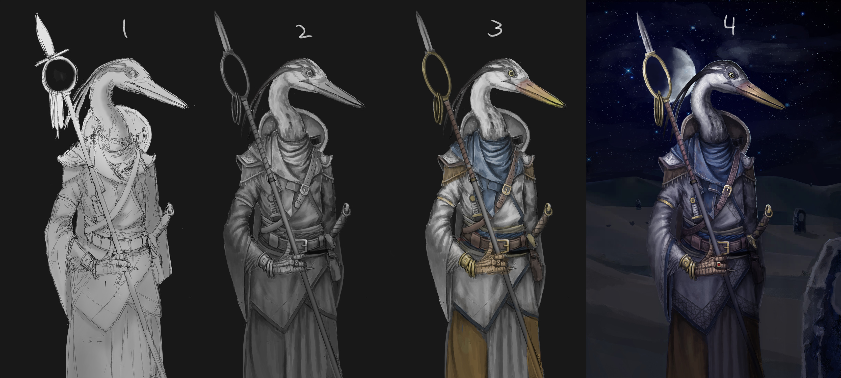 1. Initial sketch and playing around with lighting. 2. Grayscale and refining the lighting/details.  3. Colors overlaid onto the grayscale.  4. Lots of detailing. Fixed the color balance to a more blueish tint and added a simple background.