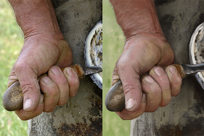 Hand of a farrier;  skin study.