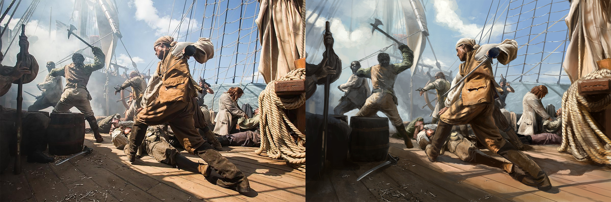 film/TV still study (from that tv show black sails - wanted a challenge with many figures etc. - was hard!)
