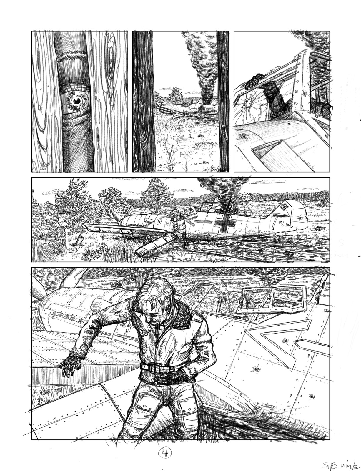 Pencils for page four of a twelve page sequence.