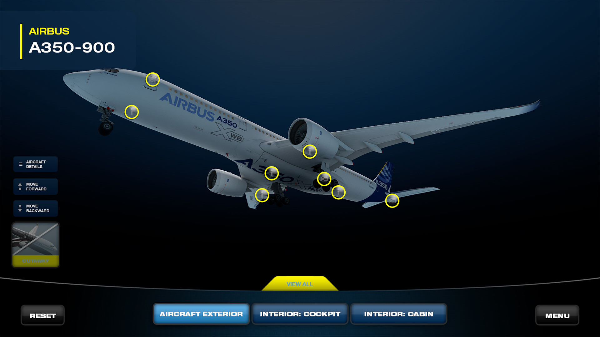 A350 model, has the landing gear detailed and animated.