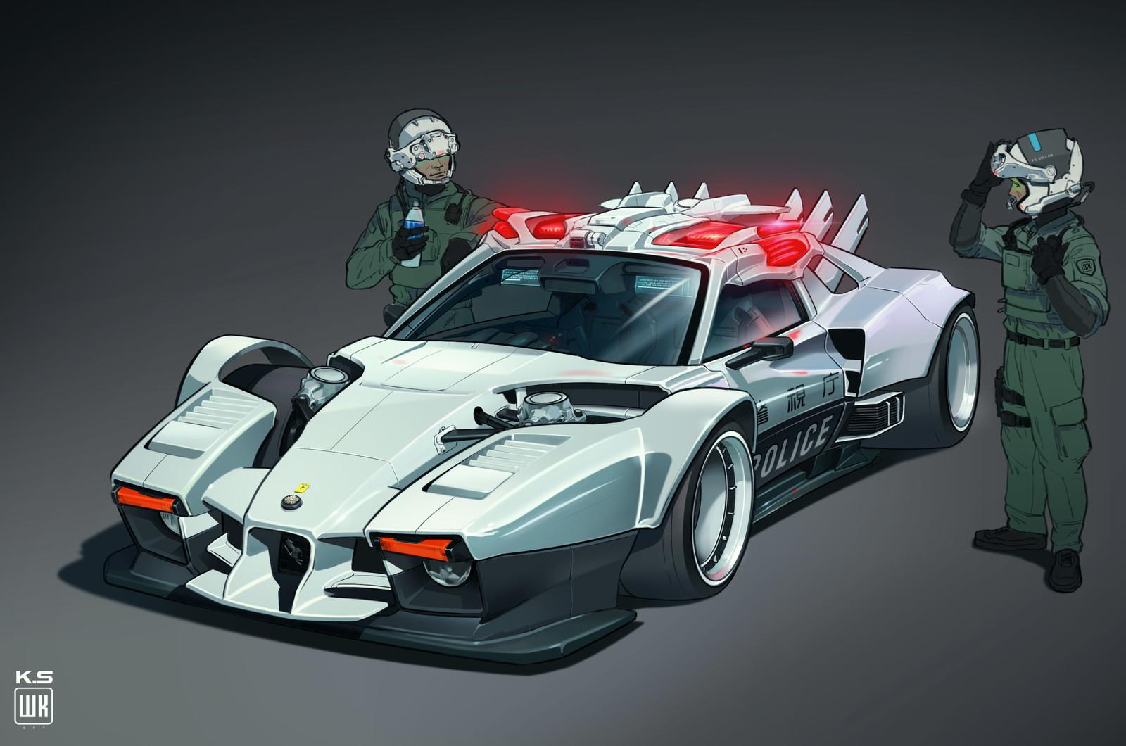 Neo Tokyo Sci-fi Police Car