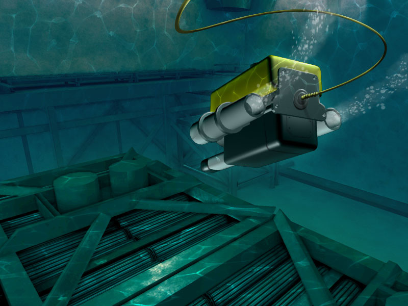 Underwater drone inspecting nuclear fuel rods
