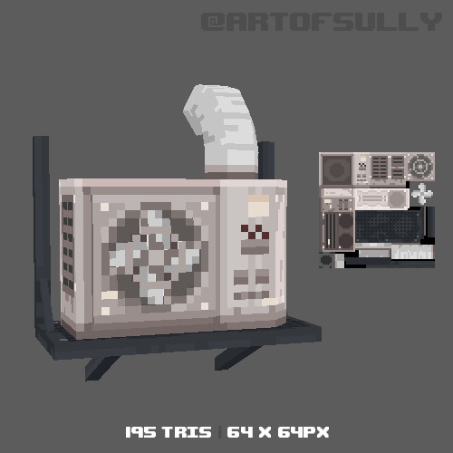 3D Pixel-Art Air Conditioner (Commission)