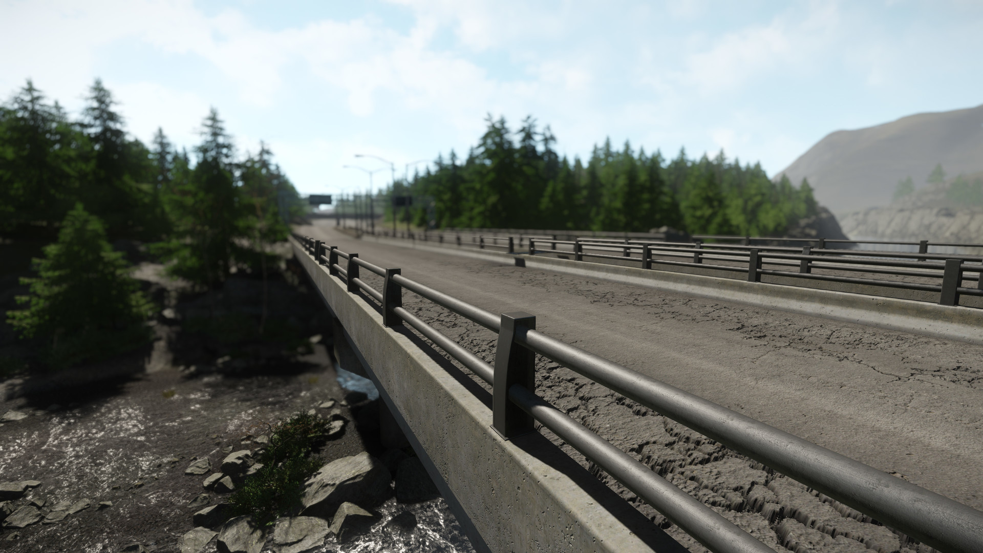 The Highway bridge allows for travel over rivers and acts as a highway Overpass.