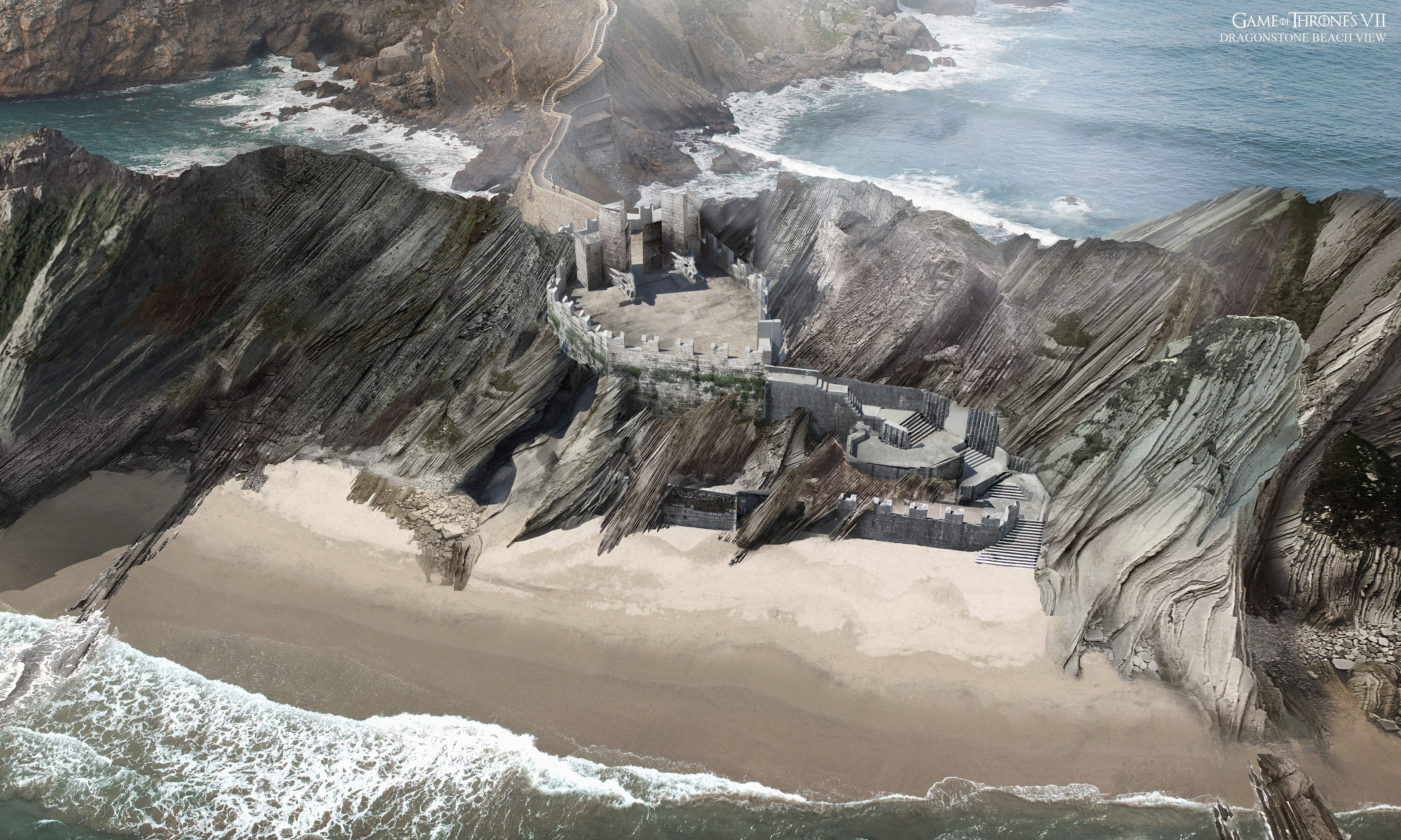 wider aerial view of the gate and Zumaia beach
