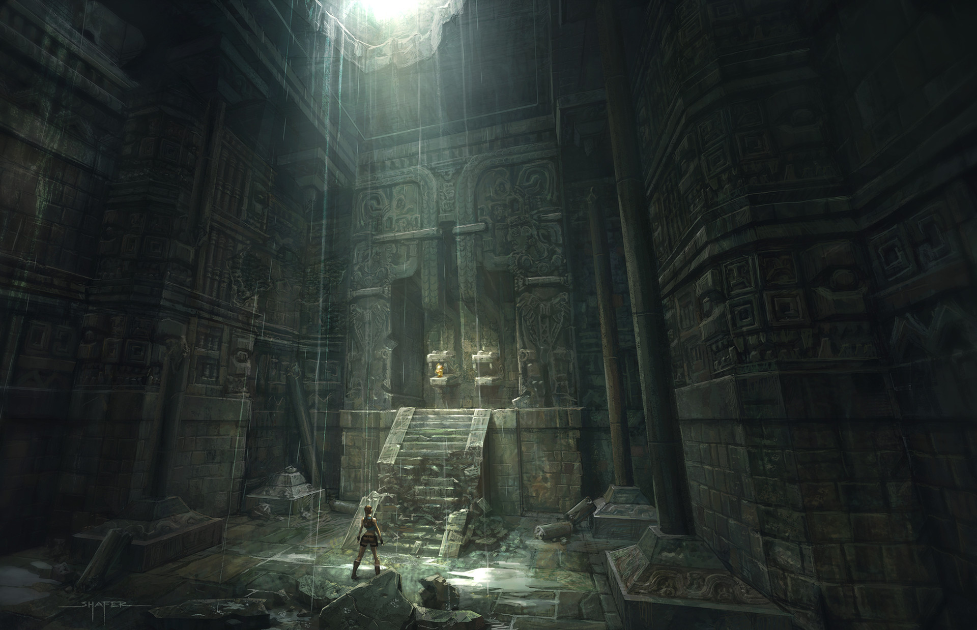 Concept art for part of the Mayan level in Tomb Raider: Underworld