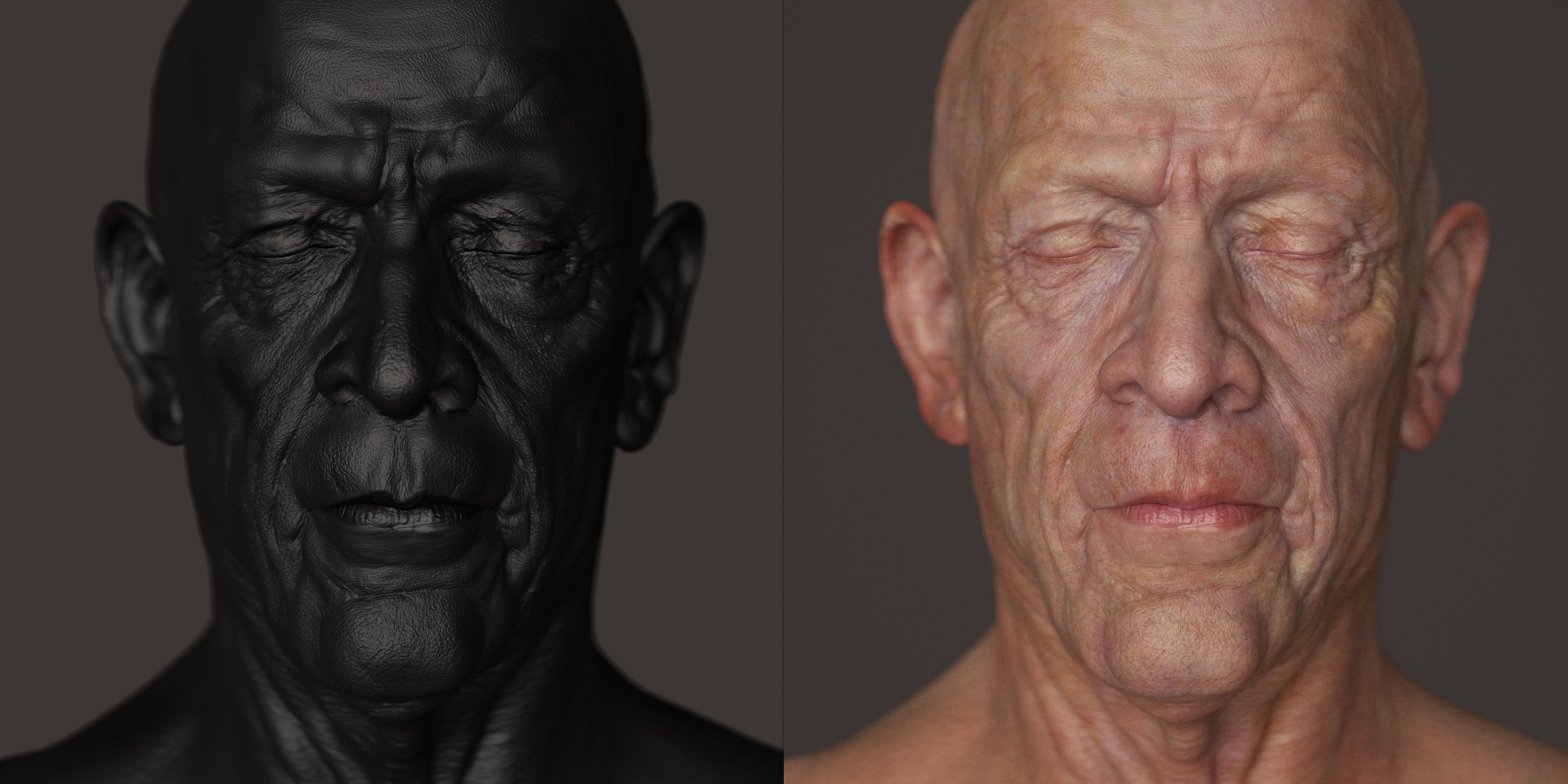 displacement map and skin shader tests