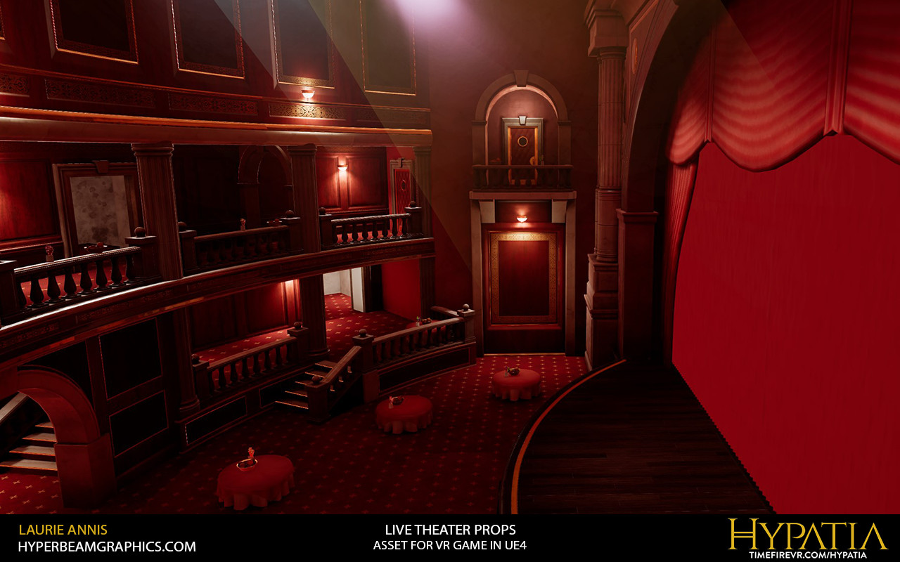 Low poly game assets: Hypatia Live Theater Props, door, sconce, fruit bowl fruit spawner.