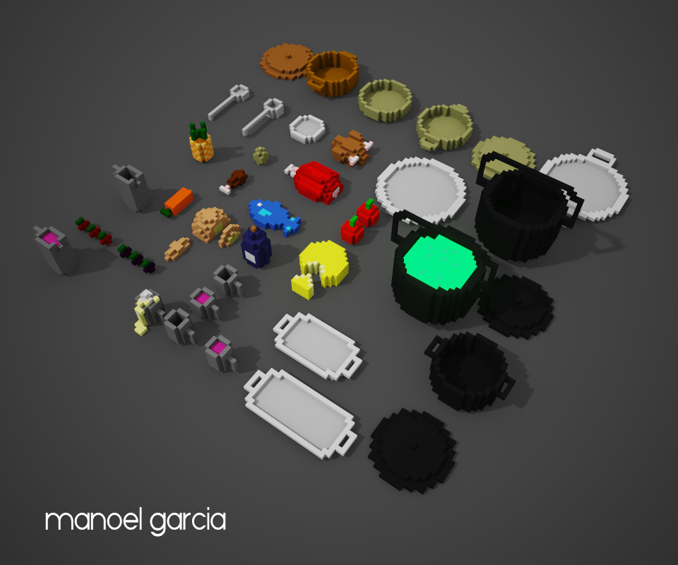 Voxel Food for Fantasy and medieval games