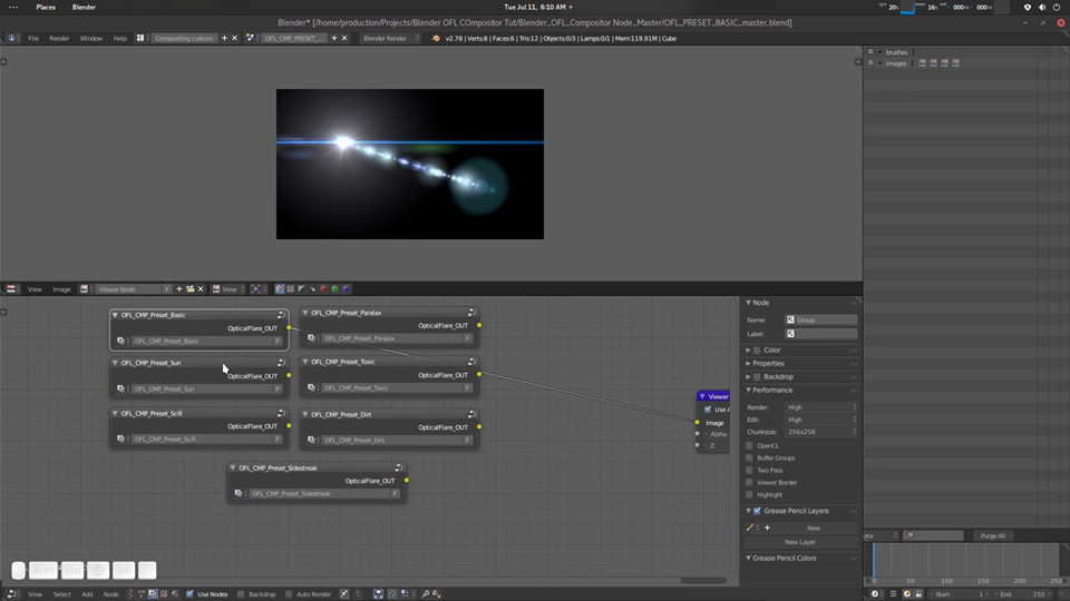 ArtStation - Optical Flare Compositing Node For Blender