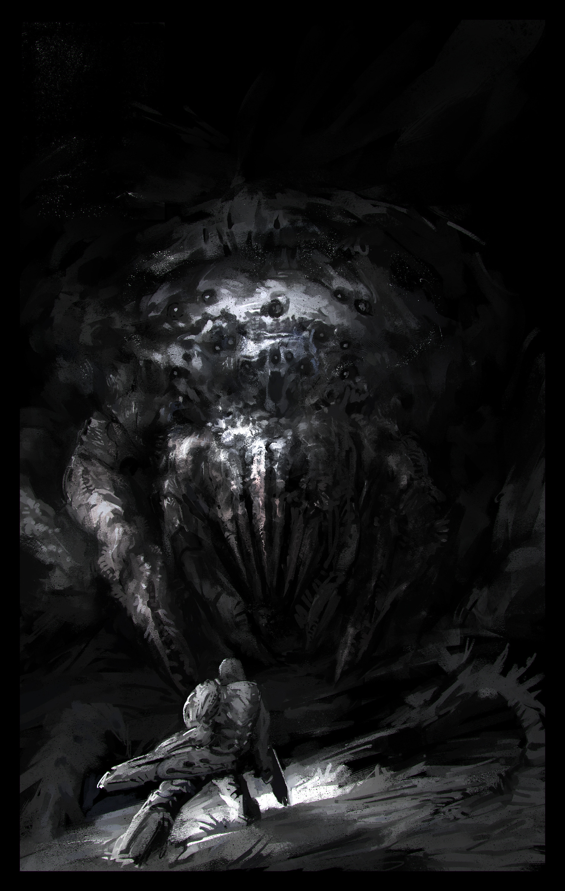 Sergey musin night land cave creature sketch4